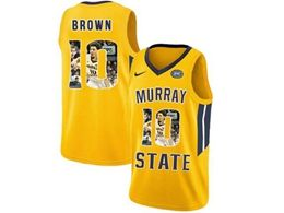 Mens Ncaa Nba Murray State Racers #10 Tevin Brown Yellow Nike Printed Fashion Jersey