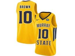 Mens Ncaa Nba Murray State Racers #10 Tevin Brown Yellow Nike Jersey