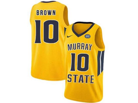 Mens Ncaa Nba Murray State Racers #10 Tevin Brown Yellow Nike Jersey