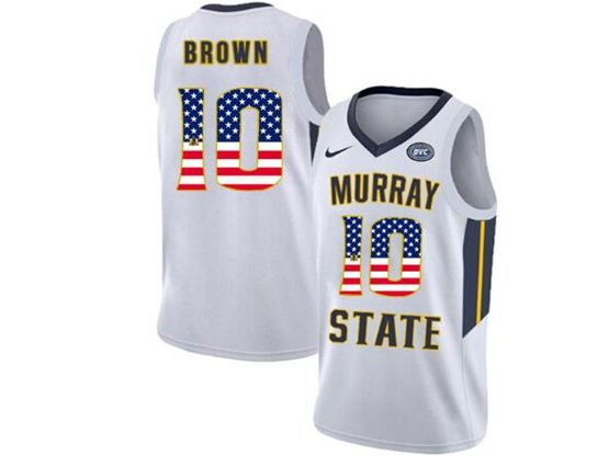 Mens Ncaa Nba Murray State Racers #10 Tevin Brown White Nike Printed Usa Flag Jersey