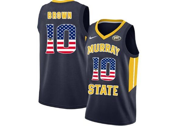 Mens Ncaa Nba Murray State Racers #10 Tevin Brown Blue Nike Printed Usa Flag Jersey