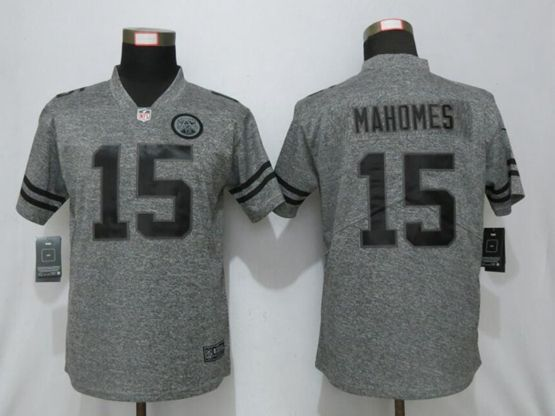 Women Kansas City Chiefs #15 Patrick Mahomes Stitched Gridiron Gray Vapor Untouchable Limited Jersey