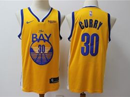 Mens 2019-20 Nba Golden State Warriors #30 Stephen Curry Yellow Nike Swingman Jersey