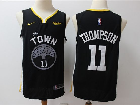 Mens Nba Golden State Warriors #11 Klay Thompson Black Nike Swingman Jersey