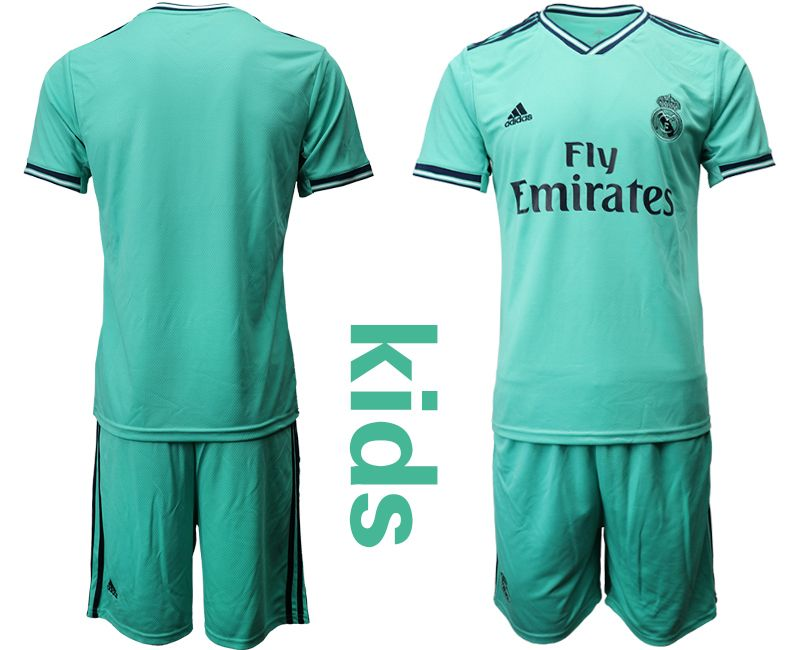 Kids 19-20 Soccer Real Madrid Club Current Player Green Second Away Short Sleeve Suit Jersey