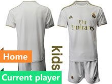 Youth 19-20 Soccer Real Madrid Club Current Player White Home Short Sleeve Suit Jersey