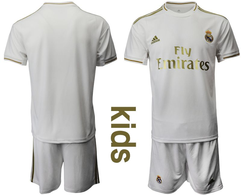 Kids 19-20 Soccer Real Madrid Club Current Player White Home Short Sleeve Suit Jersey