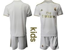 Youth 19-20 Soccer Real Madrid Club ( Custom Made ) White Home Short Sleeve Suit Jersey