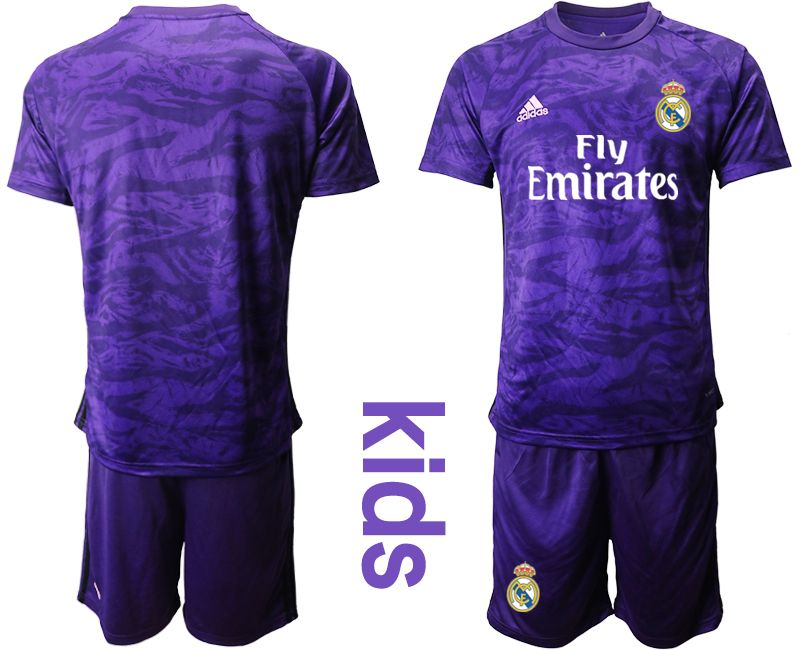Youth 19-20 Soccer Real Madrid Club ( Custom Made ) Purple Goalkeeper Short Sleeve Suit Jersey