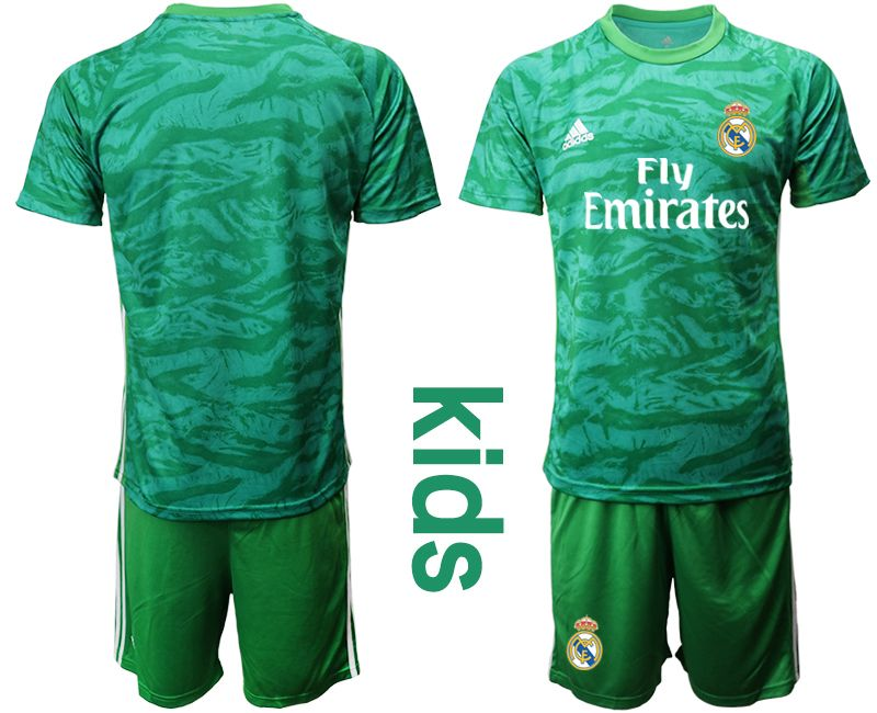 Kids 19-20 Soccer Real Madrid Club ( Custom Made ) Green Goalkeeper Short Sleeve Suit Jersey