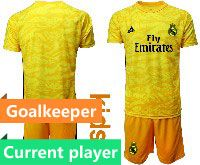 Youth 19-20 Soccer Real Madrid Club Current Player Yellow Goalkeeper Short Sleeve Suit Jersey