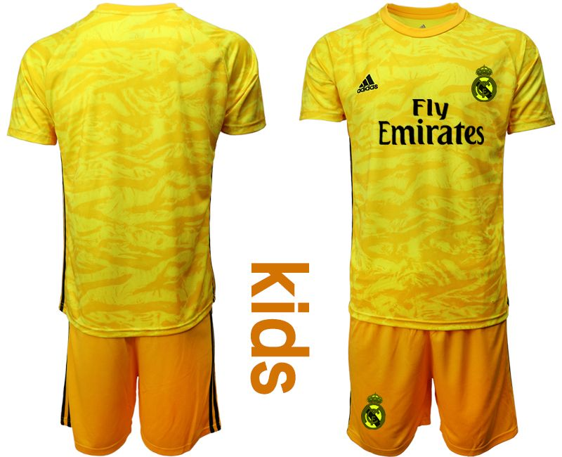 Youth 19-20 Soccer Real Madrid Club ( Custom Made ) Yellow Goalkeeper Short Sleeve Suit Jersey