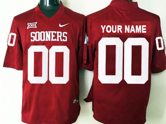 Mens Ncaa Nfl Oklahoma Sooners Custom Made Red Nike Game Jersey