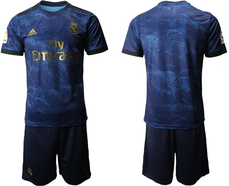 Mens 19-20 Soccer Real Madrid Club Current Player Navy Blue Away Short Sleeve Suit Jersey
