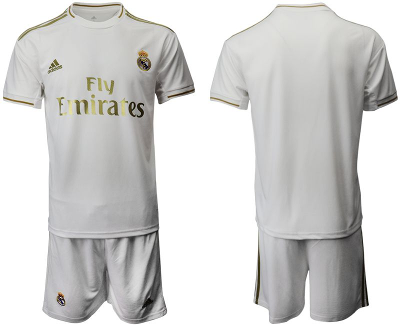 Mens 19-20 Soccer Real Madrid Club ( Custom Made ) White Home Short Sleeve Suit Jersey