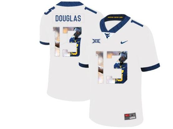 Mens Ncaa West Virginia University #13 Rasul Douglas White Printed Fashion Nike Vapor Untouchable Limited Jersey