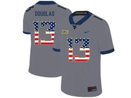 Mens Ncaa West Virginia University #13 Rasul Douglas Gray Printed Usa Flag Nike Vapor Untouchable Limited Jersey
