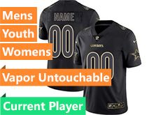 Mens Women Youth Nfl Dallas Cowboys Current Player Black Gold Vapor Untouchable Limited Jersey