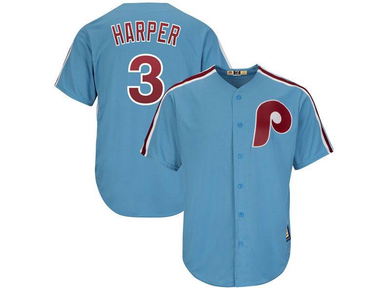 Mens Mlb Philadelphia Phillies #3 Bryce Harper Light Blue Cool Base Cooperstown Jersey