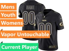 Mens Women Youth Nfl Green Bay Packers Current Player Black Gold Vapor Untouchable Limited Jersey