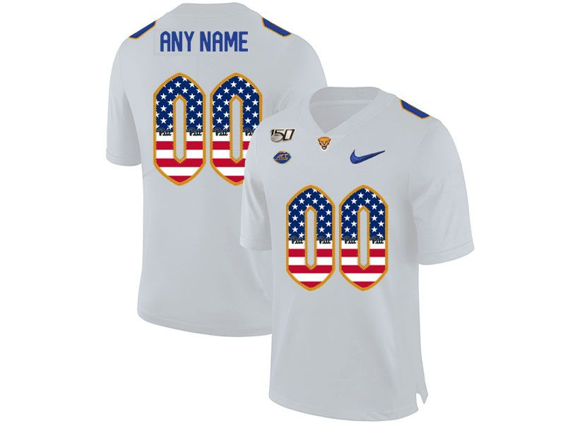 Mens Nacc Nfl Pittsburgh Panthers Custom Made White Printed Usa Flag Nike Vapor Untouchable Limited Jersey