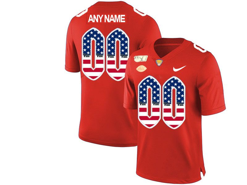 Mens Nacc Nfl Pittsburgh Panthers Custom Made Red Printed Usa Flag Nike Vapor Untouchable Limited Jersey
