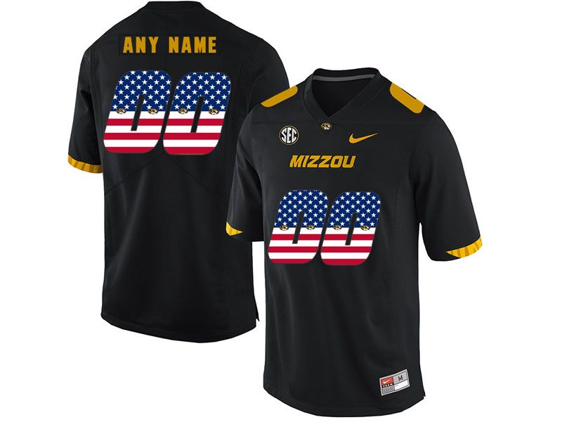 Mens Nacc Nfl Missouri Tigers Custom Made Black Printed Usa Flag Nike Vapor Untouchable Limited Jersey