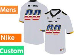 Mens Nacc Nfl Missouri Tigers Custom Made White Printed Usa Flag Nike Vapor Untouchable Limited Jersey