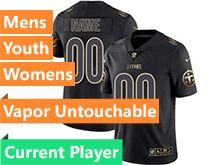 Mens Women Youth Nfl Tennessee Titans Current Player Black Gold Vapor Untouchable Limited Jersey