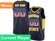 Mens Ncaa Nba Murray State Racers Current Player Dark Blue Nike Printed Usa Flag Jersey