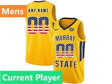 Mens Ncaa Nba Murray State Racers Current Player Yellow Nike Printed Usa Flag Jersey