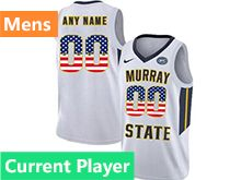 Mens Ncaa Nba Murray State Racers Current Player White Nike Printed Usa Flag Jersey
