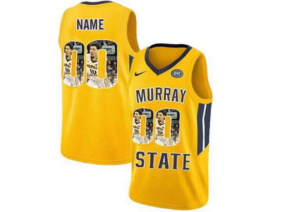 Mens Ncaa Nba Murray State Racers Current Player Yellow Nike Printed Fashion Jersey