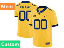 Mens Ncaa West Virginia University Custom Made Yellow Nike Vapor Untouchable Limited Jersey
