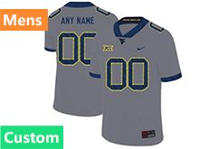 Mens Ncaa West Virginia University Custom Made Gray Nike Vapor Untouchable Limited Jersey
