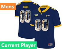 Mens Ncaa West Virginia University Current Player Blue Printed Fashion Nike Vapor Untouchable Limited Jersey