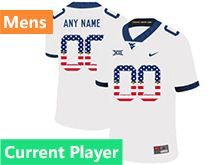 Mens Ncaa West Virginia University Current Player White Printed Usa Flag Nike Vapor Untouchable Limited Jersey