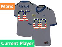 Mens Ncaa West Virginia University Current Player Gray Printed Usa Flag Nike Vapor Untouchable Limited Jersey