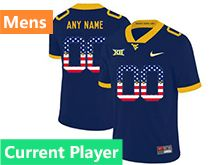 Mens Ncaa West Virginia University Current Player Blue Printed Usa Flag Nike Vapor Untouchable Limited Jersey