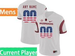 Mens Nike Ncaa Arkansas Razorbacks Current Player White Printed Usa Flag Vapor Untouchable Limited Jersey