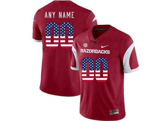 Mens Nike Ncaa Arkansas Razorbacks Current Player Red Printed Usa Flag Vapor Untouchable Limited Jersey