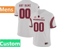 Mens Nike Ncaa Arkansas Razorbacks Custom Made White Vapor Untouchable Limited Jersey
