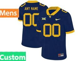 Mens Ncaa West Virginia University Custom Made Blue Nike Vapor Untouchable Limited Jersey