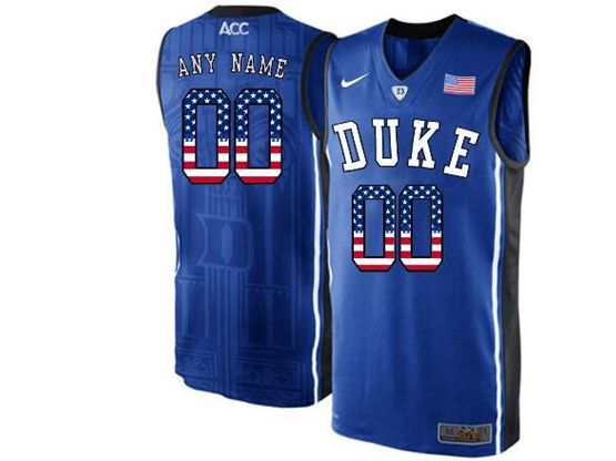 Mens Ncaa Nba Duke Blue Devils Current Player Blue Printed Usa Flag Nike Acc Elite Jersey