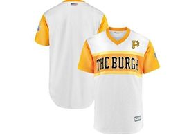 Mens Pittsburgh Pirates Blank White 2019 Mlb Little League Cool Base Throwbacks Nickname Jersey
