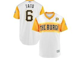 Mens Pittsburgh Pirates #6 Starling Marte (tato) White 2019 Mlb Little League Cool Base Throwbacks Nickname Jersey