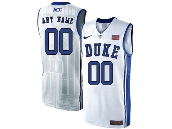 Mens Ncaa Nba Duke Blue Devils Custom Made White Nike Acc Elite Jersey