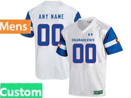 Mens Ncaa Colorado State Rams Custom Made White Under Armour State Pride Football Jersey