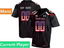 Mens Ncaa Texas Tech Current Player Black Printed Usa Falg Under Armour State Pride Football Jersey