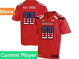 Mens Ncaa Texas Tech Current Player Red Printed Usa Falg Under Armour State Pride Football Jersey